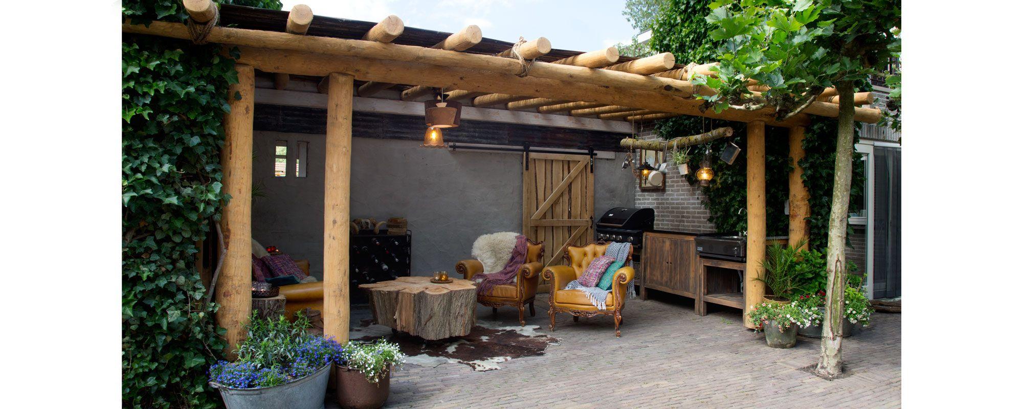 Douglas ronde palen veranda 600x400cm | Veranda's, Tuinontwerp