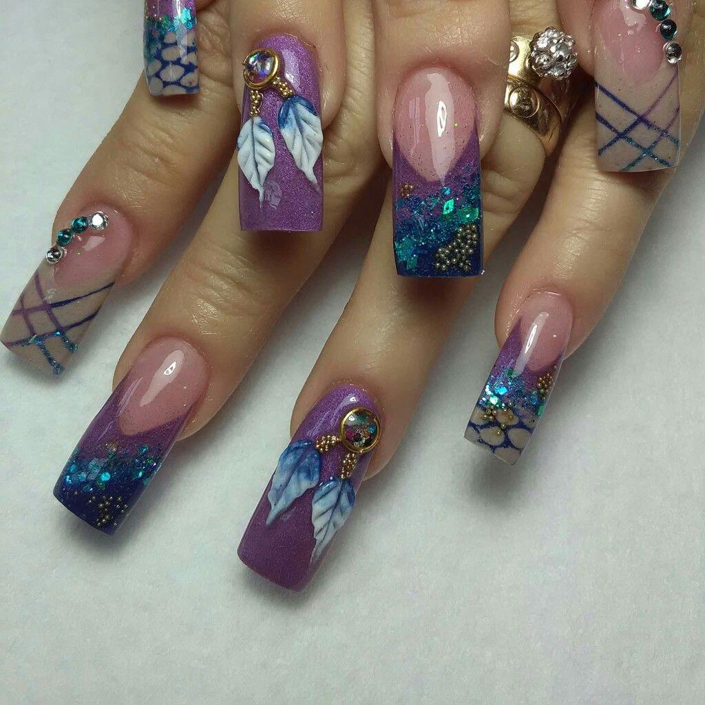 Pretty dream catcher nail art | long nails nail art ideas | Nail Art ...