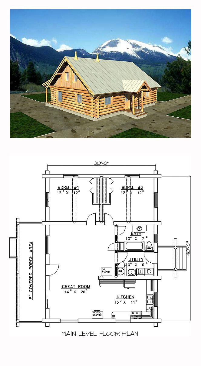 Log Style House Plan 87060 With 2 Bed 1 Bath Cabin House Plans Log Home Plans Beach House Plans