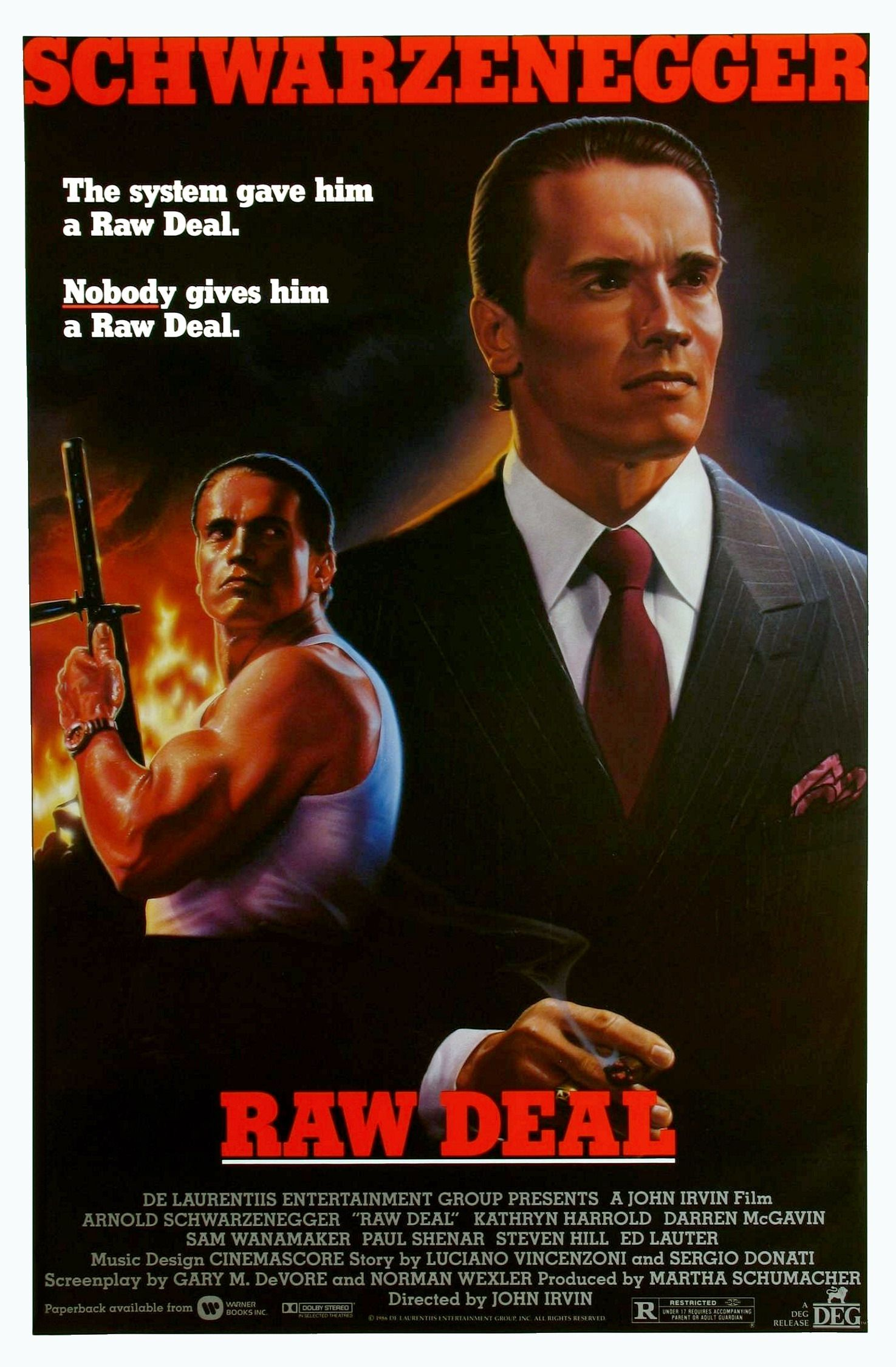 Raw Deal 1986 Movie Poster Arnold Schwarzenegger Ejecutor