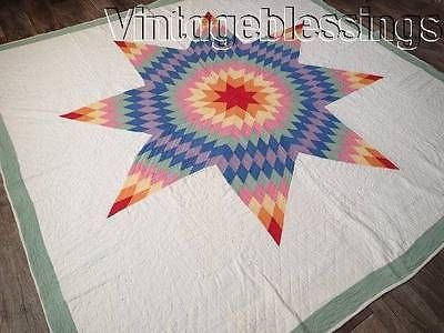 Fantastic Quilting Vintage 30s Texas Star Quilt 77x77 Excellent