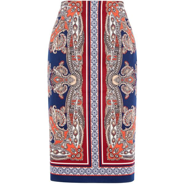 OASIS Paisley Pencil Skirt ($60) ❤ liked on Polyvore featuring skirts, multi, pencil skirt, knee length pencil skirt and paisley skirt