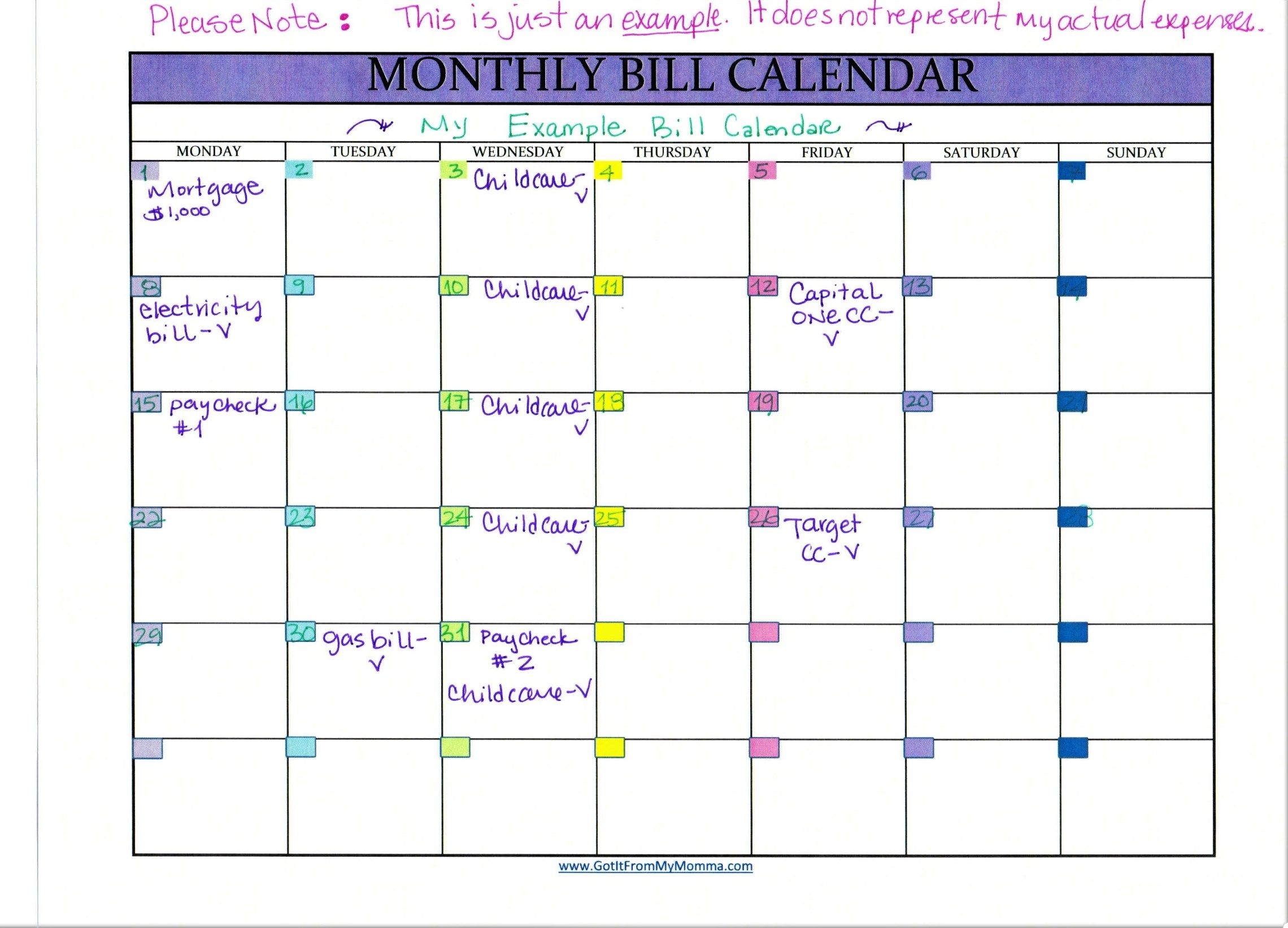 Tracking Your Bills with a Monthly Bill Calendar Bill
