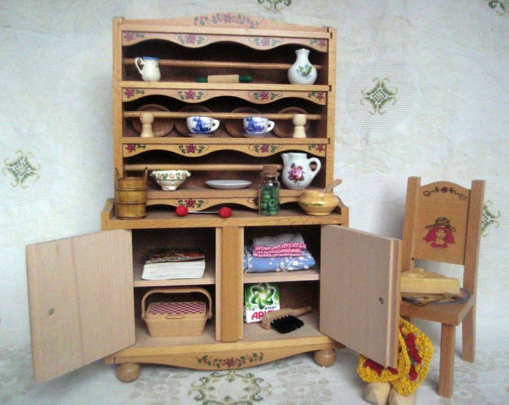 Details zu Puppenmöbel 1:6 Puppenstube Küche Schrank 22x33cm Stuhl ...