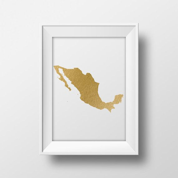 Gold foil Mexico map printable map wall art Mexican map print – Mexicanmap