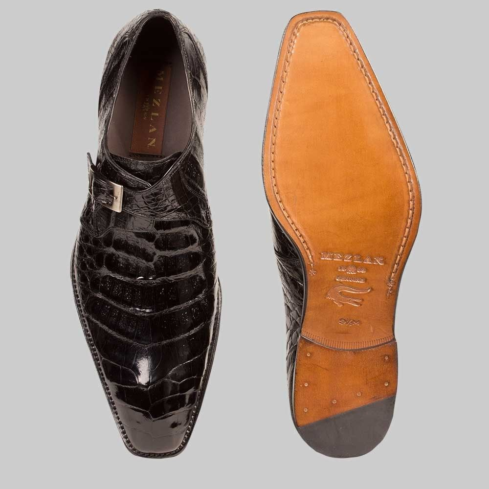 41dd019bc0c Mezlan Shoes Mens Gables Black Crocodile Skin Monk Strap Loafers ...
