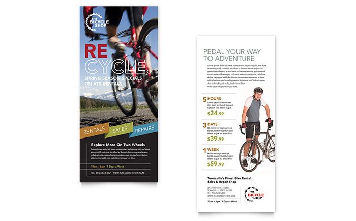 Bike Rentals And Mountain Biking Rack Card Template Design By