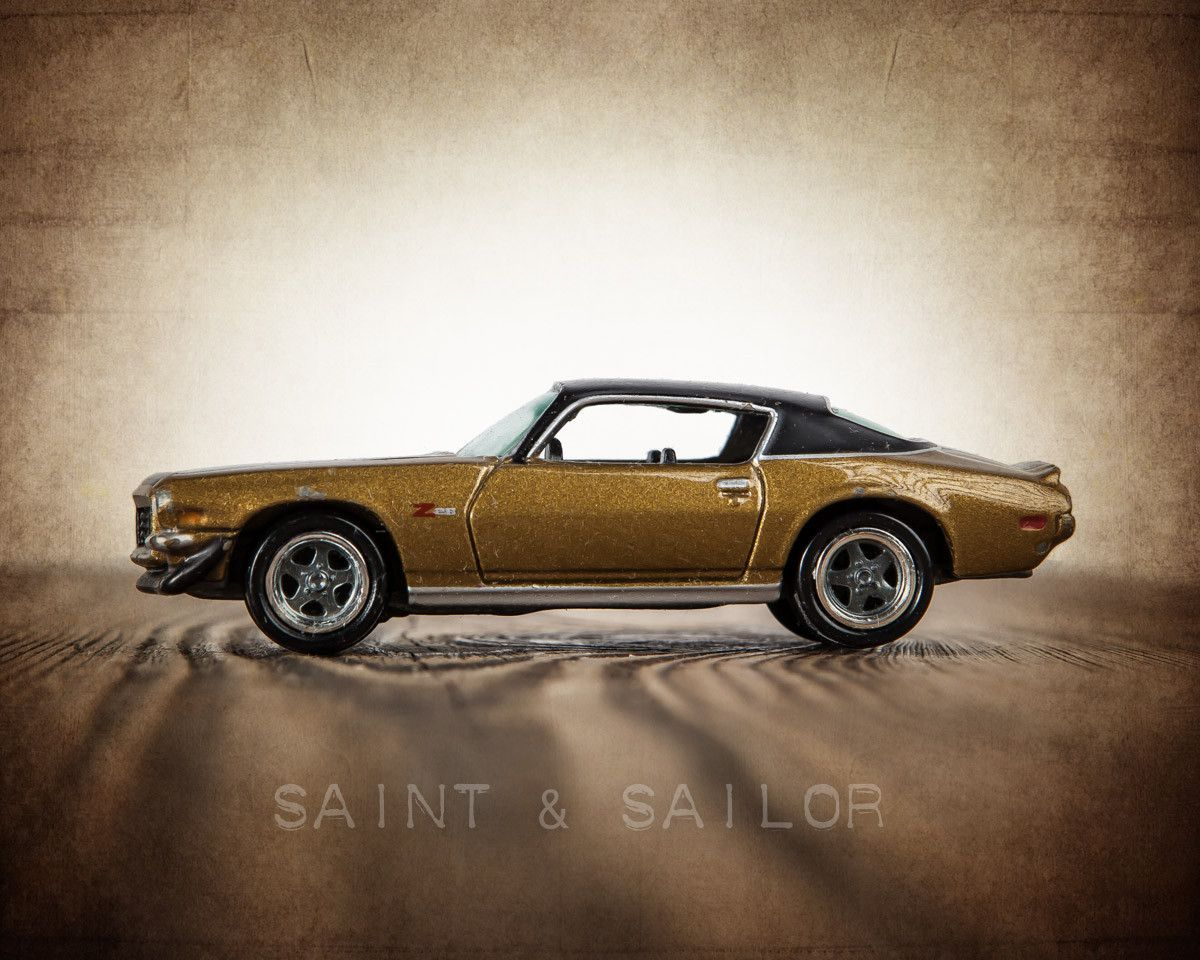 Vintage Muscle Car Bronze And Black 1971 Z28 From Saint