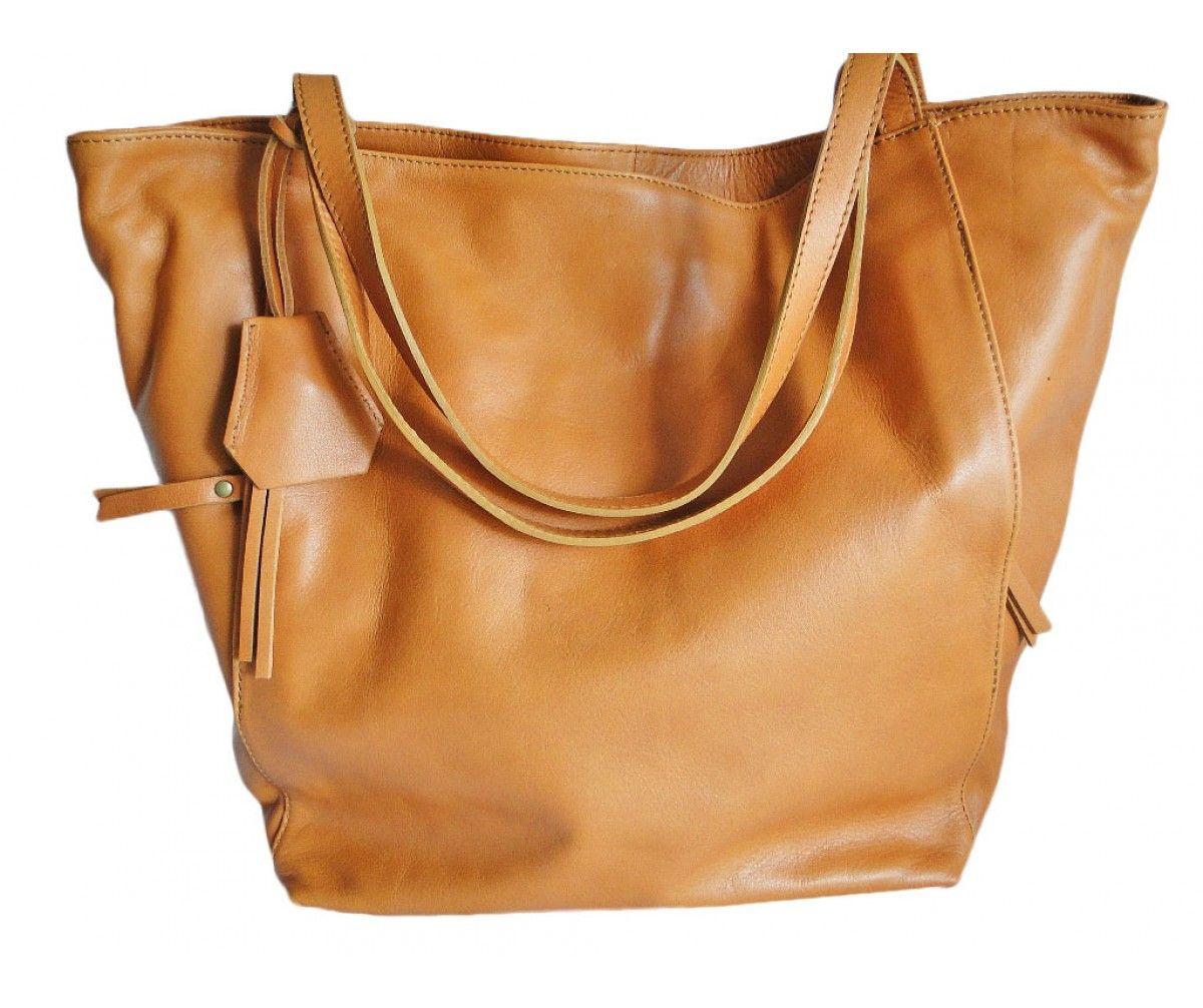 b22c29b22a Grand sac cabas cuir marron camel - Modèle PRUDENCE | Saheline.com ...