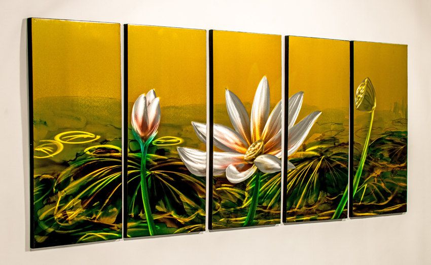 Modern Abstract Painting Metal Wall Art Sculpture Water Lily   Metal ...