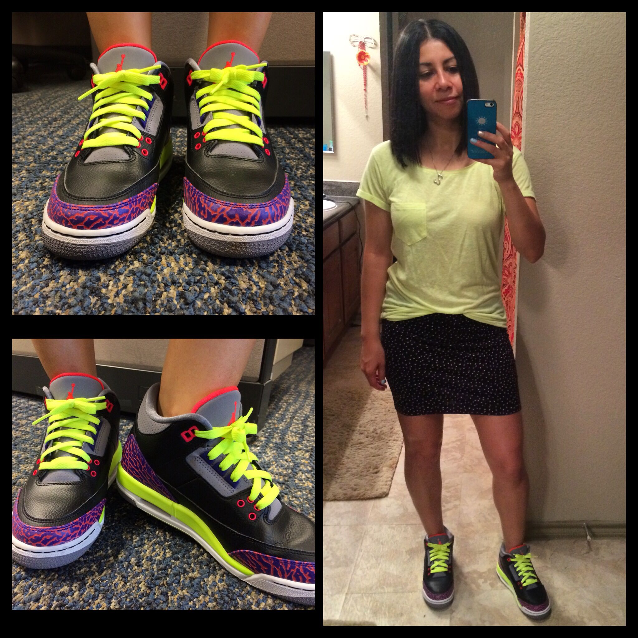 Outfit of the day, jordans 3's black & purple volt and mini skirt