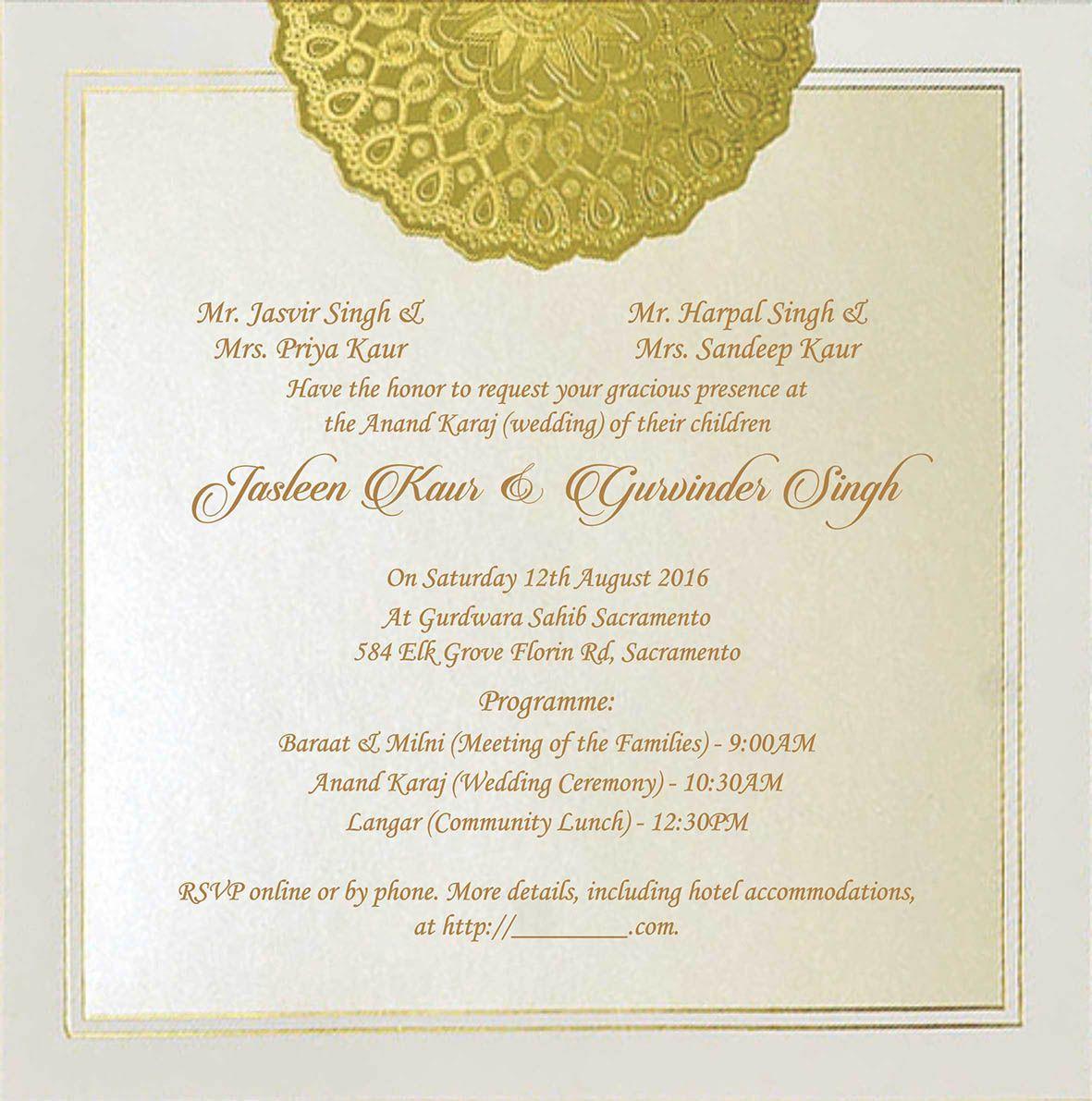 Wedding Invitation Wording For Sikh Wedding Ceremony   Sikh Wedding ...