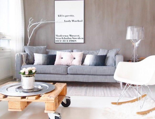 Skandinavisches Wohnzimmer ~ Palettenmöbel selber bauen wohnzimmer couchtisch rollen
