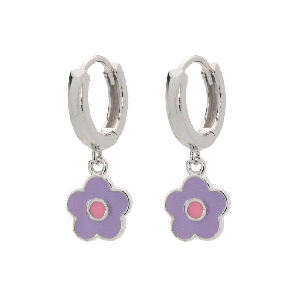 Girls Silver Rhodium Plated 10mm Huggie Earrings with Hanging Violet/Pink Dot Enamel Flower Charm