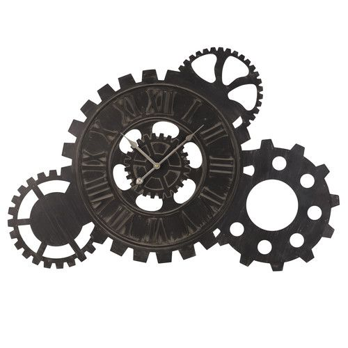 Horloge à Rouages En Métal Noir 57x85 Horloge Industrielle