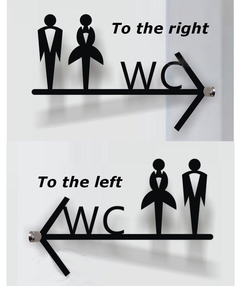 Acrylic Male Female Toilet Wc Bathroom Restroom Door Arrow Sign
