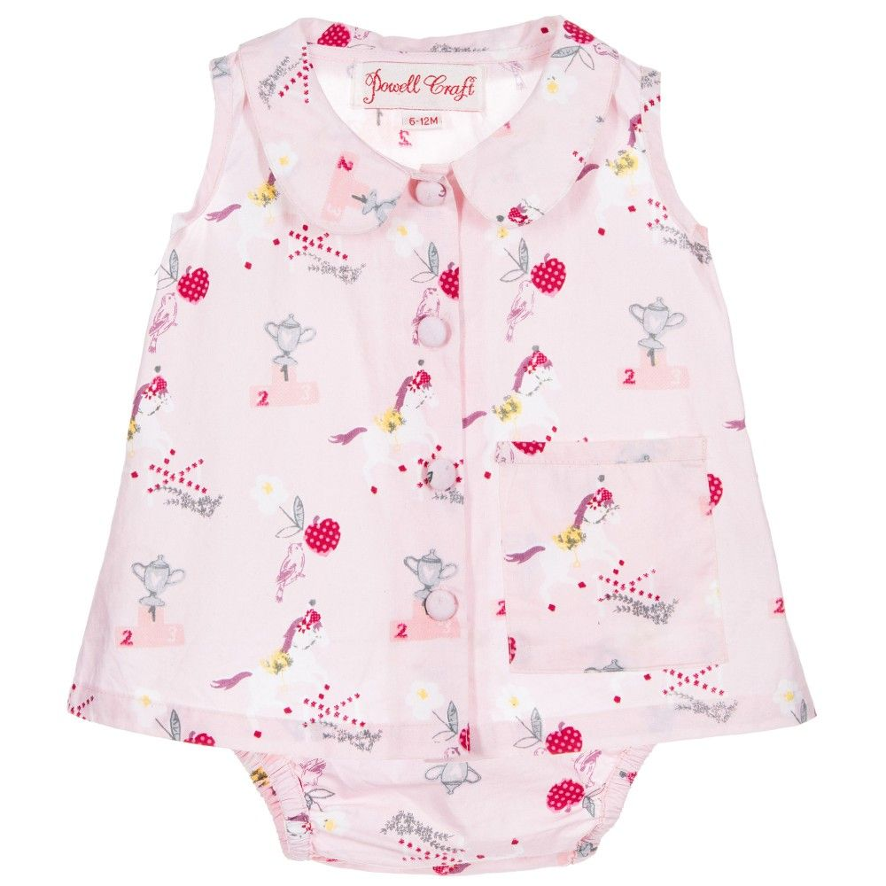 985cc2d90 Powell Craft Baby Girls Pink Pony Tunic Top & Knickers Set at  Childrensalon.com
