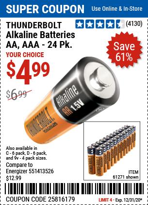 Aaa Alkaline Batteries 24 Pk Alkaline Battery Harbor Freight Tools Batteries