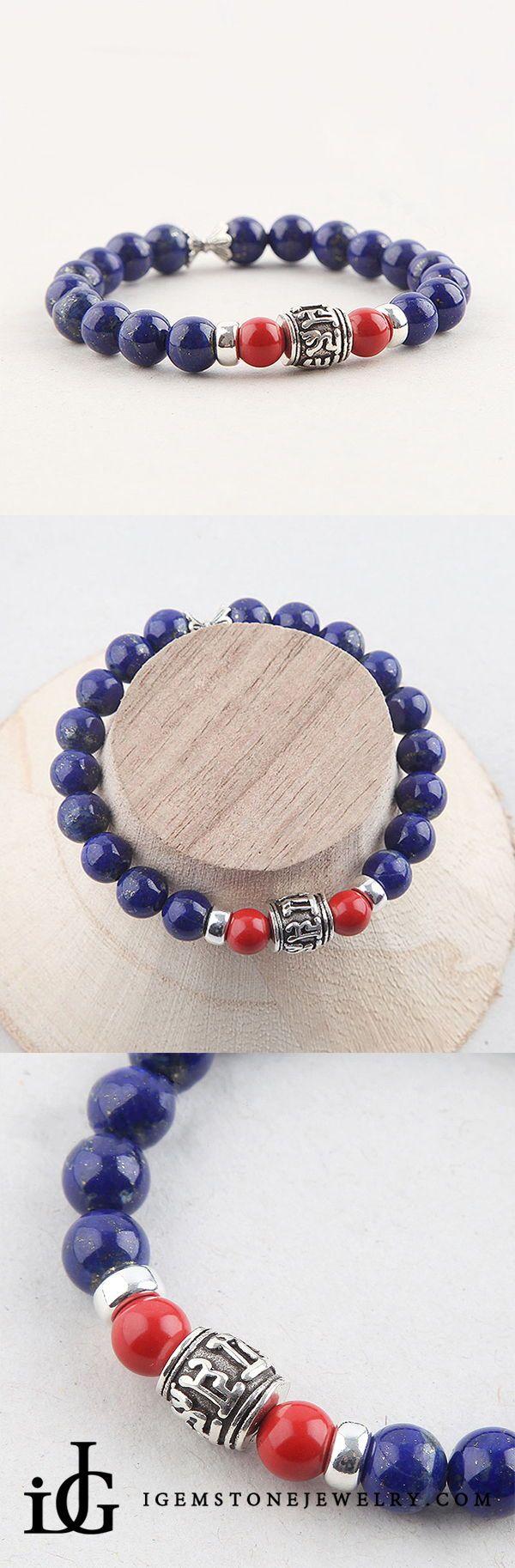 Lapis Lazuli Beads Bracelets December Birthstone Gemstone Jewelry Accessories for Women - 15cm #gemstonejewelry
