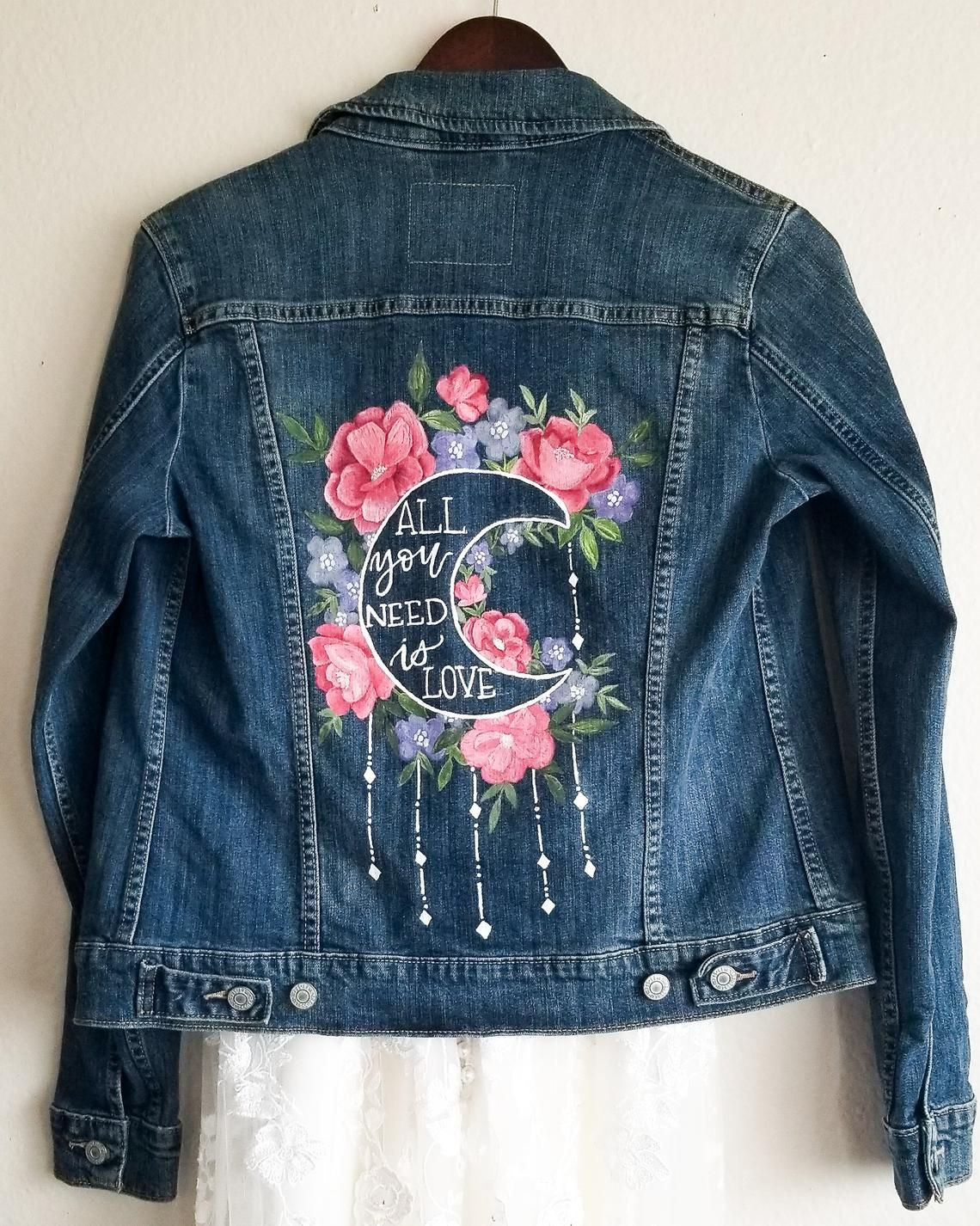 All You Need is Love Painted Jacket  Mrs. Jacket  Denim | Etsy