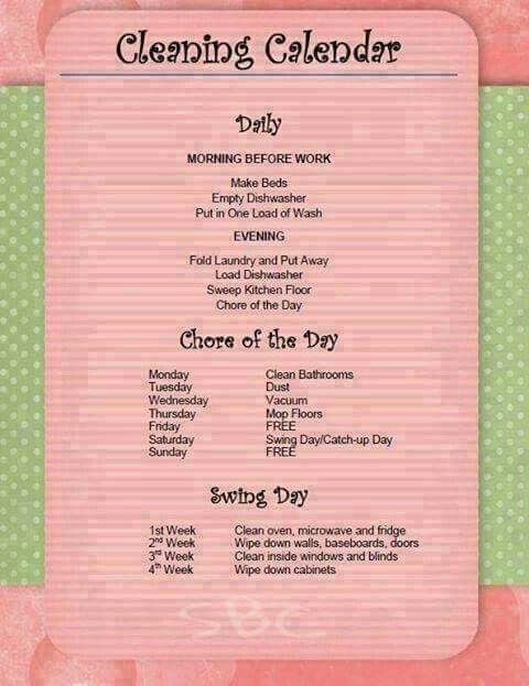 Cleaning Calendar Chore List Schedule Schedules Housework Hacks