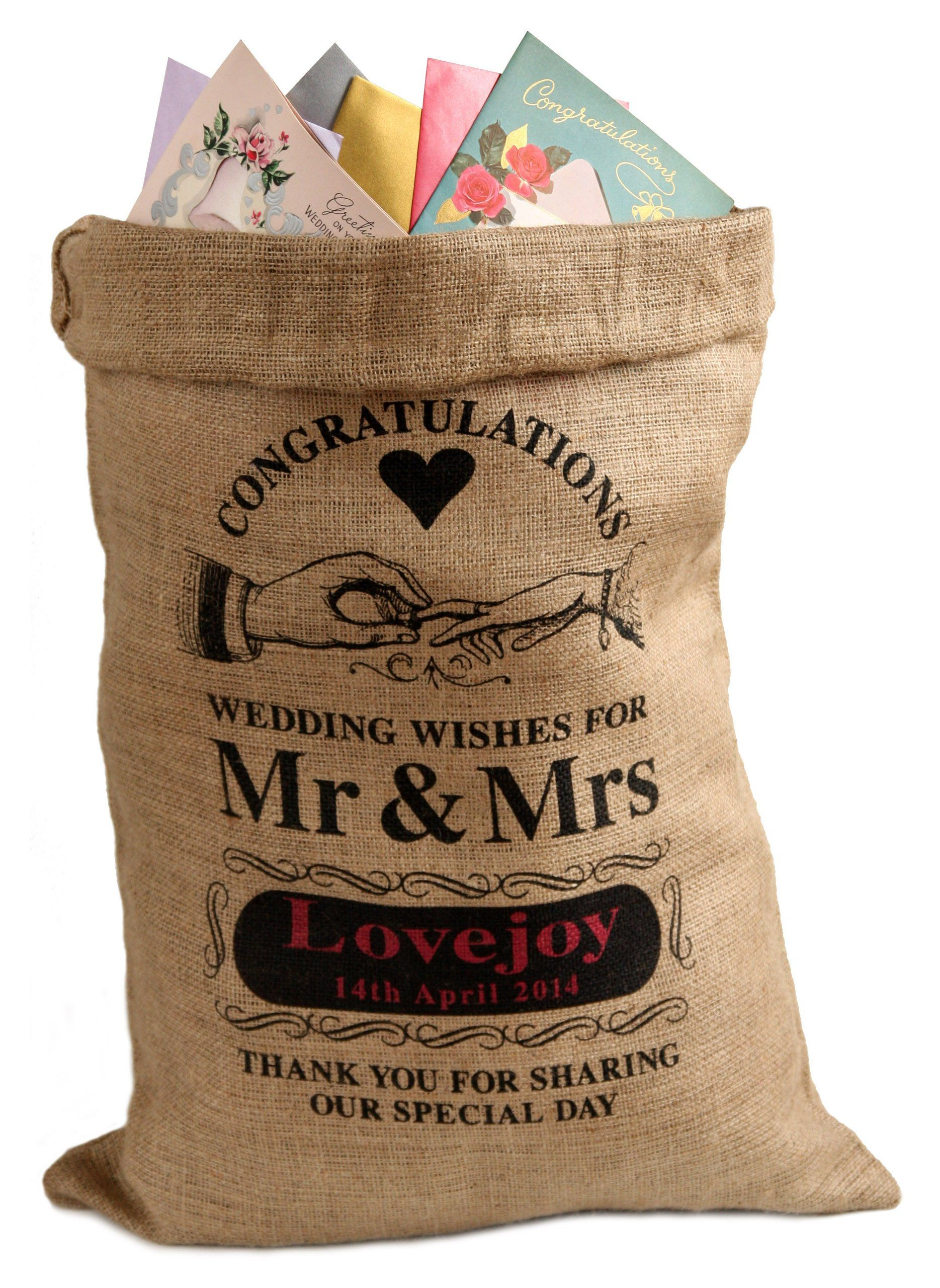 Personalised Wedding Card Sack Ring Design Alternative Post Box By Hessian And Burlap