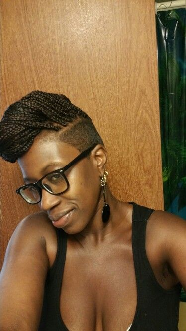 pin box braids with shaved sides