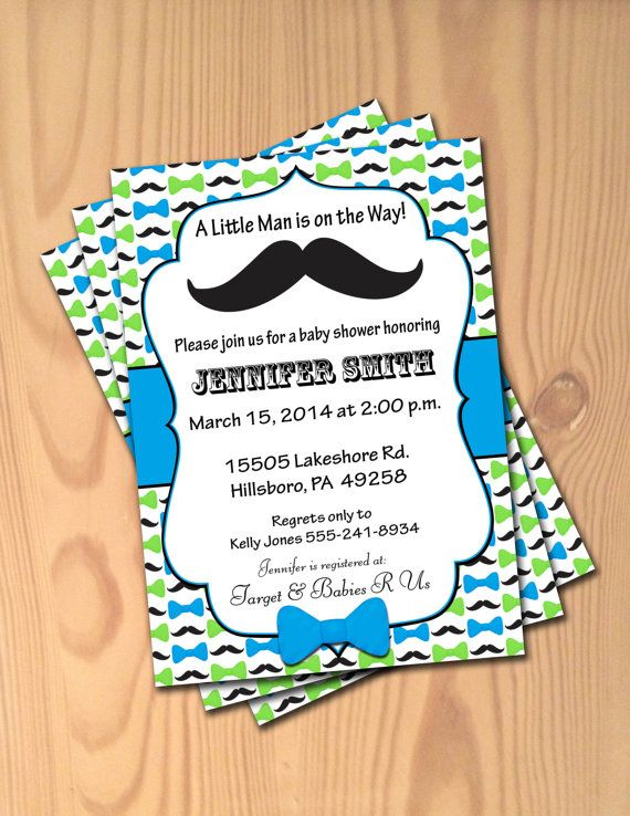 Mustache And Bow Tie Baby Shower Invitations Part - 38: Little Man Baby Shower Invitations - Little Man Mustache Bowtie Invites Baby  Boy - Personalized Blue