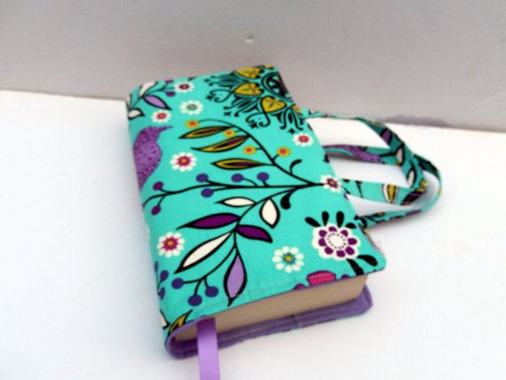 Teal Floral Fabric Book Cover with Handles