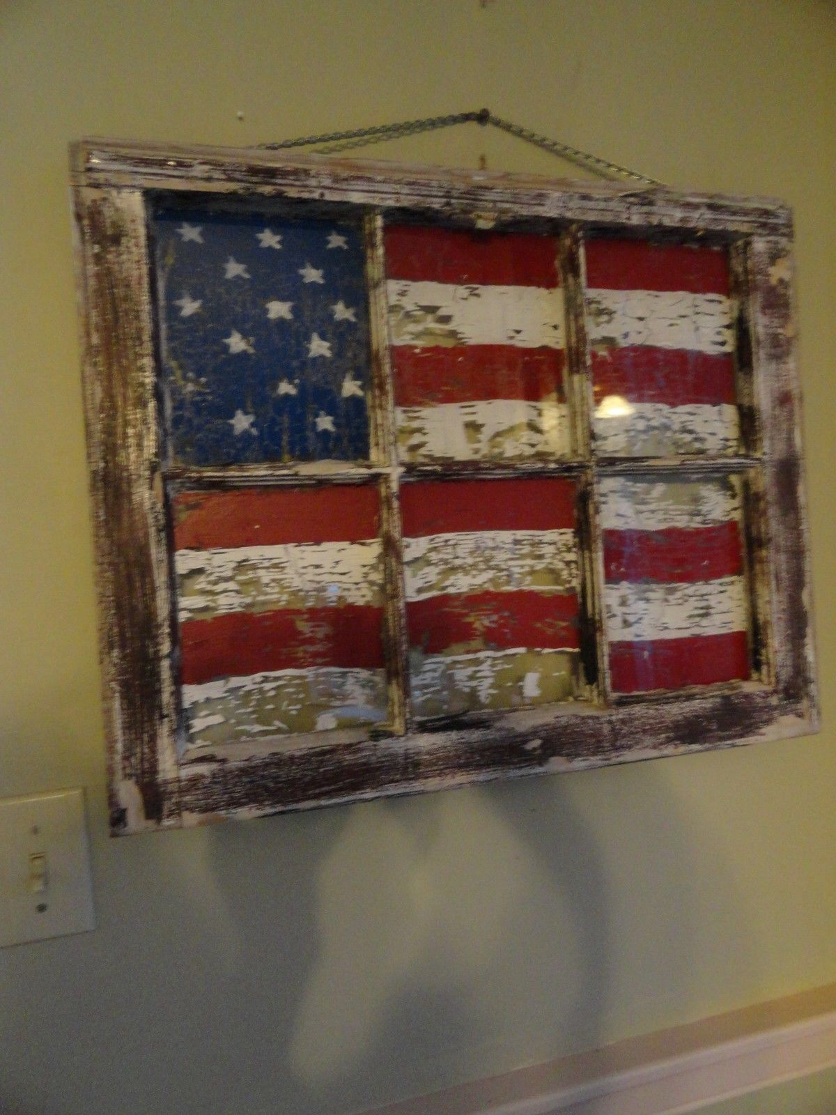 Old window decor  old window with painted flag  primitive look  patriotic decor