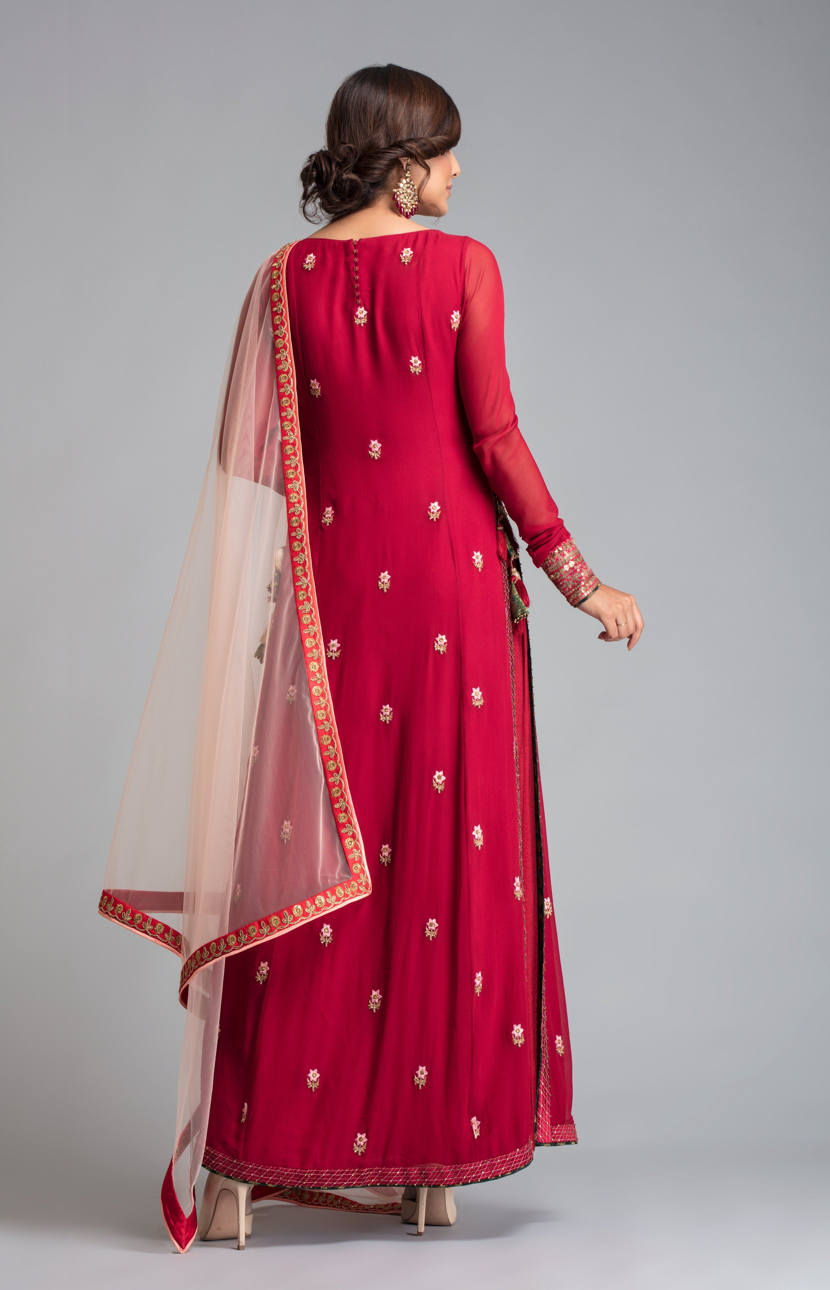 a16707a93d9 Burgundy High slit kurti with side pleated palazzo and contrast peach  dupatta. Fabric  Viscous GGT