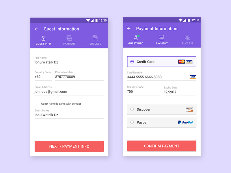 Checkout & Payment Process for Booking Hotel Hotel app