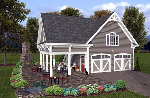 Very Nice 2 Car Garage Plan With 1 Bedroom Apartment Above And Covered Entertaining Area Number 74803