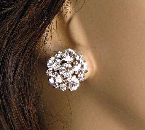 Wedding Earrings Stud Crystal Post Bridal Jewelry Bridesmaids