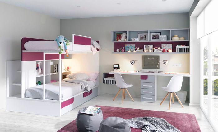 Habitación juvenil formada por litera con estantería y dos cajones ...
