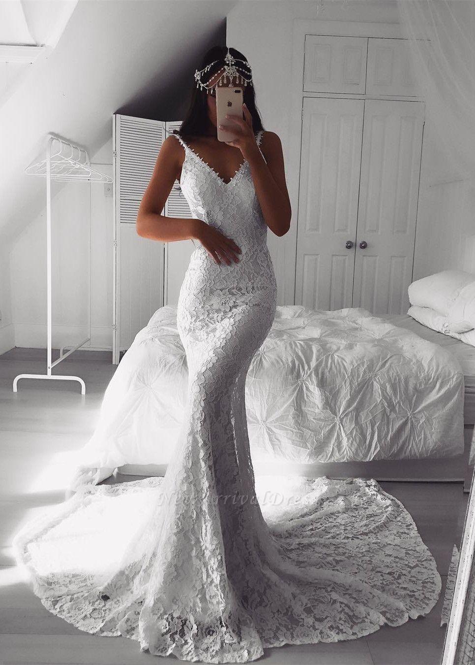 Modern Beautiful Lace V Neck Mermaid Wedding Dresses Custom Made Online Cheap Bridal Gowns Sheer Wedding Dress Bridal Dresses Wedding Dresses [ 1350 x 966 Pixel ]