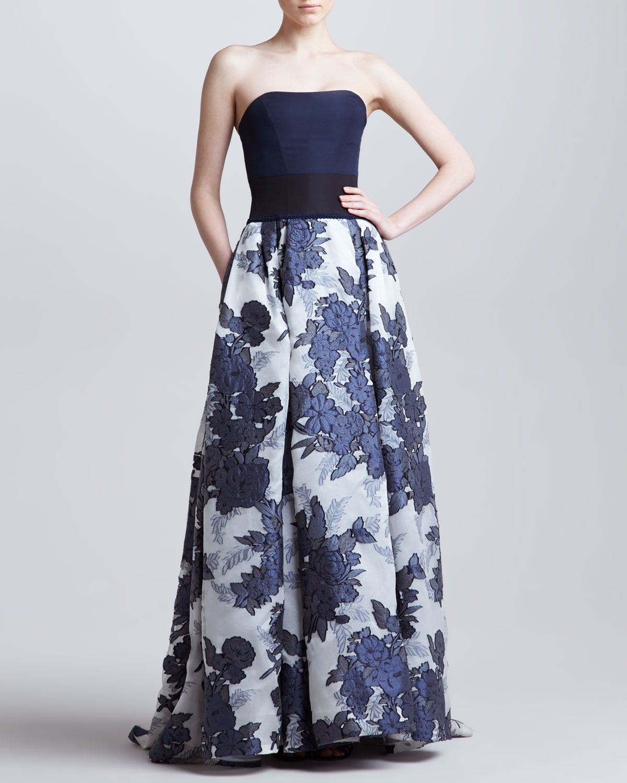 Carolina Herrera Floral Jacquard Organza vestido SEM Alcas, Azul ...