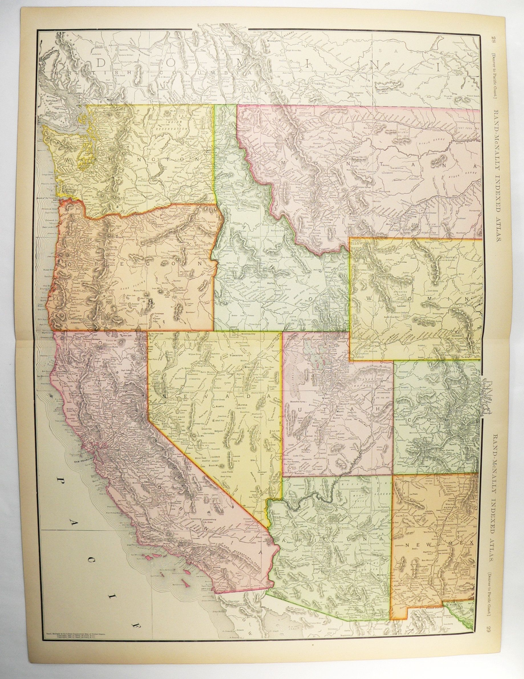 Large Western United States Map, Original Vintage Map from ...