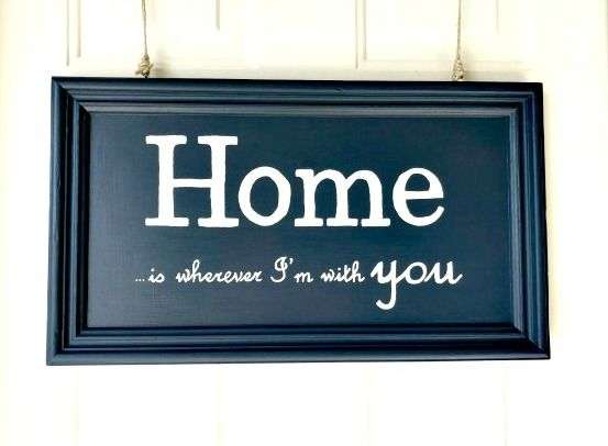 DIY Painted Sign - Uses Hale Navy and a white paint pen