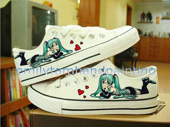 Vocaloid Hatsune Miku Shoes Custom Shoes Hand Paint Low Top