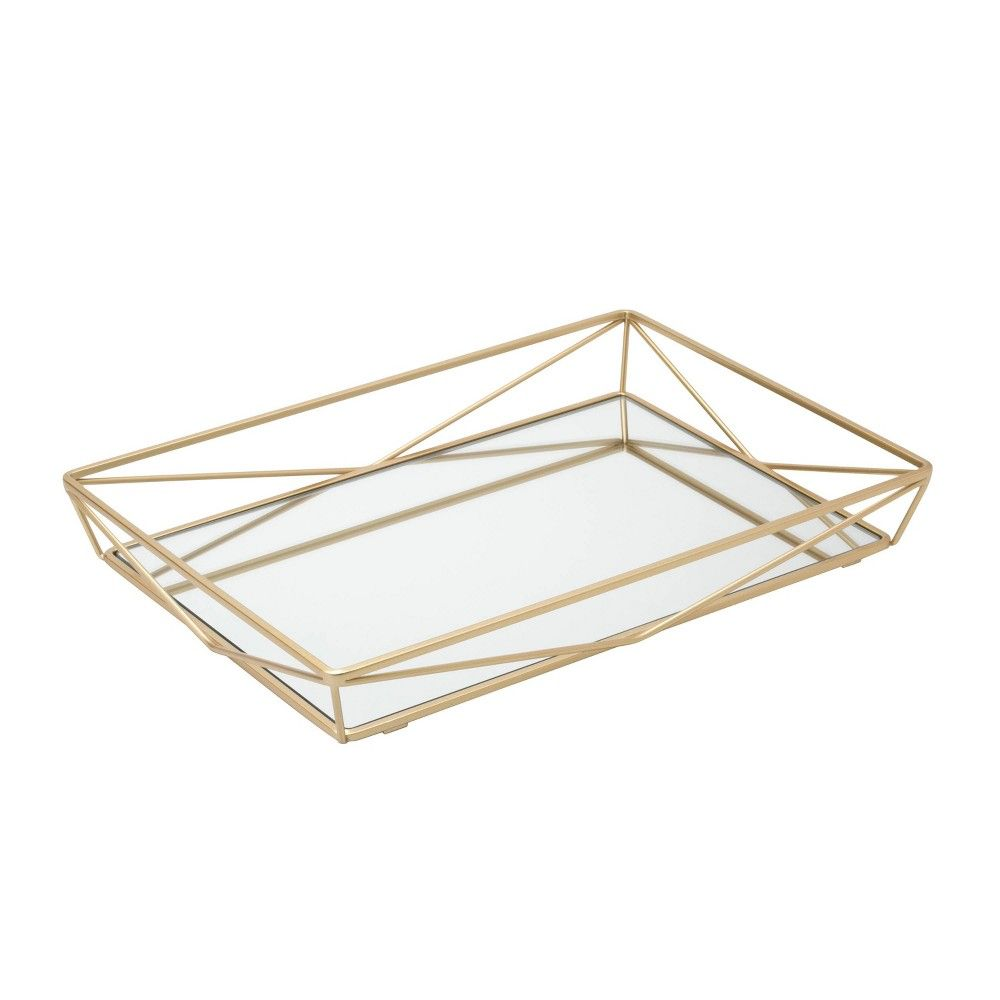 Large Geometric Mirrored Vanity Tray Gold Home Details In 2020 Geometric Tray Vanity Tray Gold Tray