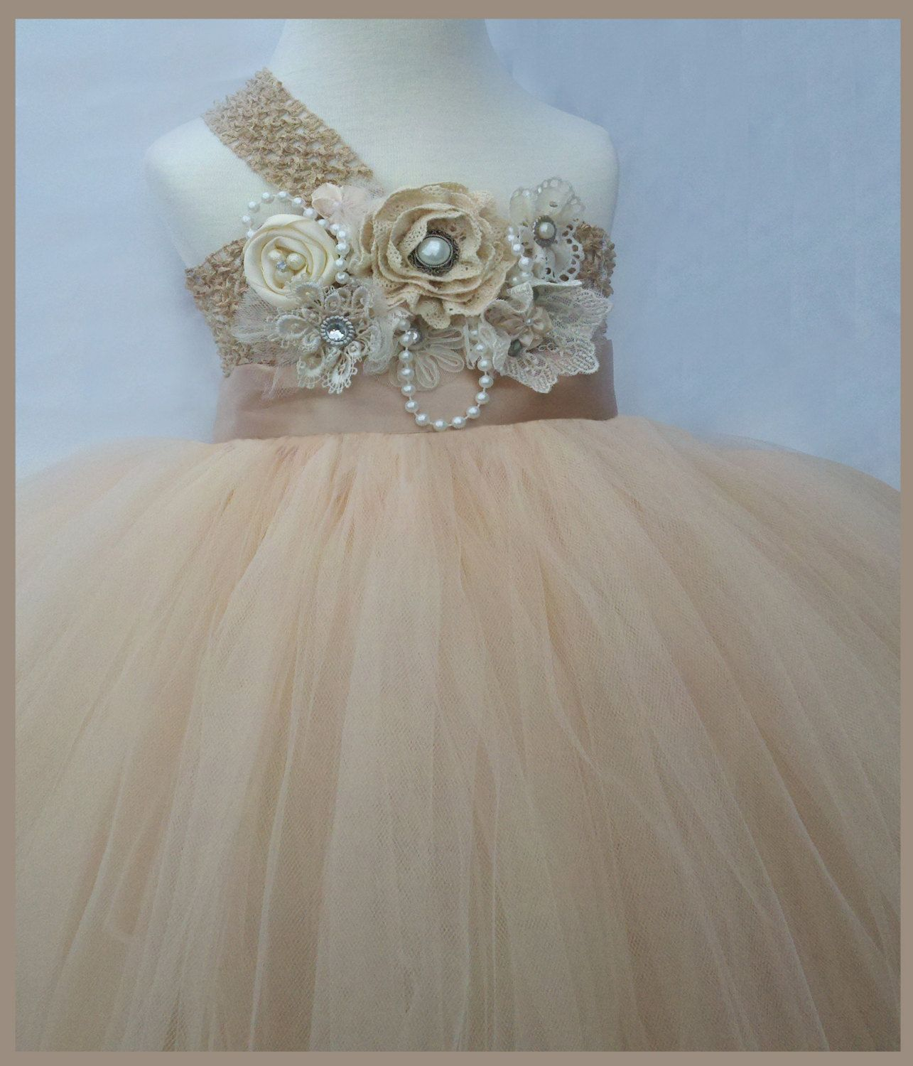 Dresses for 12 year olds for a wedding  flower girl dress Champagne flower girl tutu by Jillybeantutus