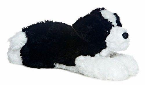 12 Aurora Plush Puppy Dog Black White Border Collie Flopsie