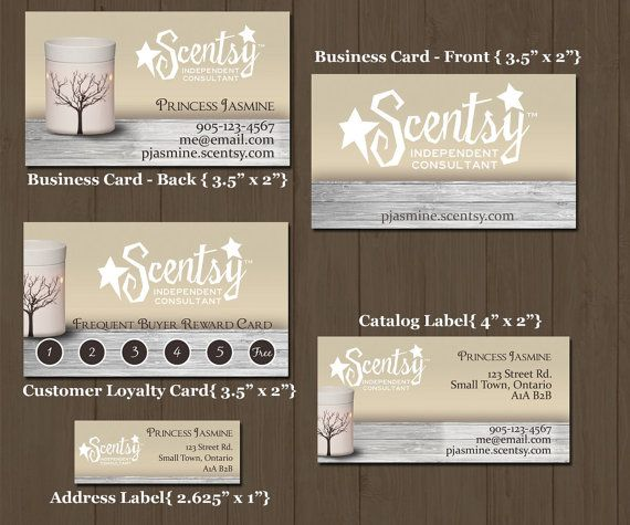 Rustic style Scentsy Business cards frequent buyer cards catalogue