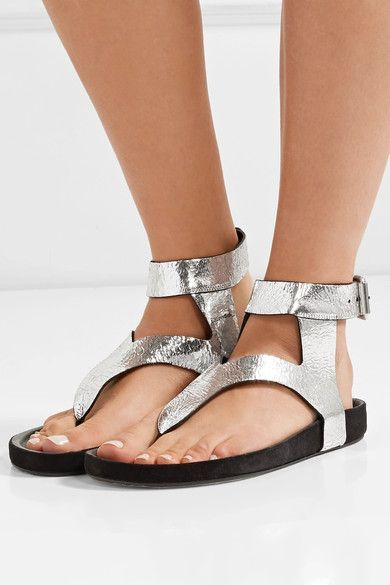 Elwina metallic cracked-leather sandals Isabel Marant Clearance Excellent Buy Cheap Discount Many Styles xqAtRPyHp2