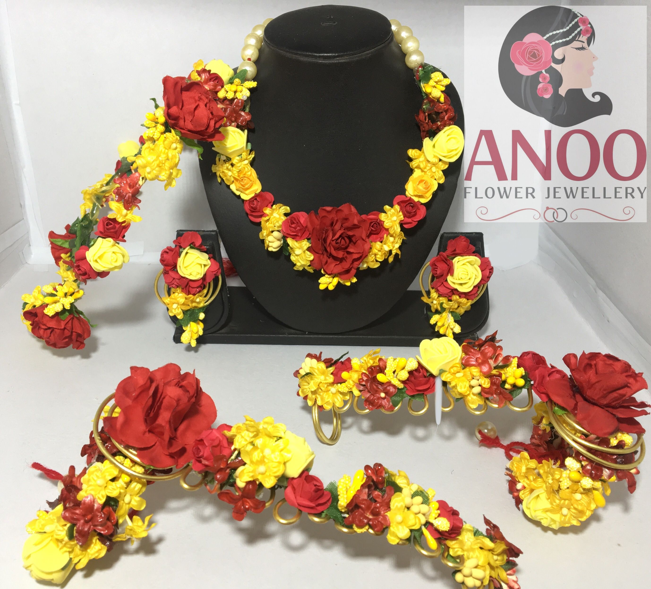 Elegant and designer flower jewellery for your #haldi #sangeet or ...