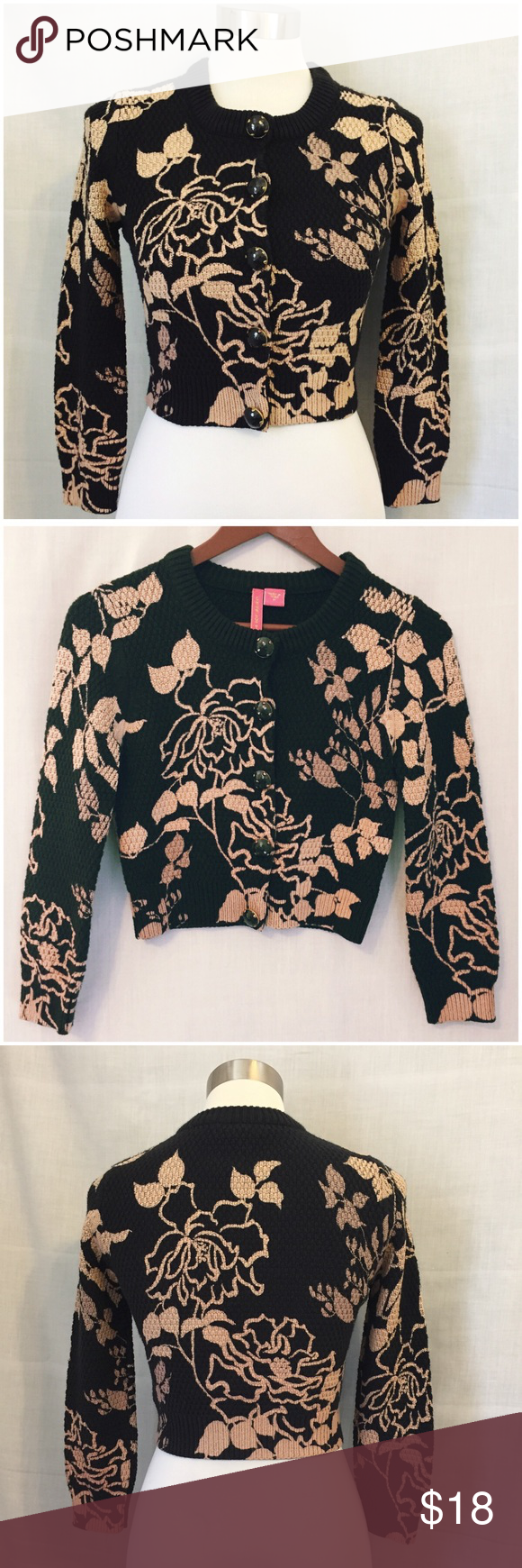 """Charlotte Tarantola Black Floral Cropped Cardigan Charlotte Tarantola 3/4 Sleeve Black Tan Floral Cropped Cardigan Sweater  • Medium (runs small, will fit a s/m) • 55% cotton 45% acrylic • Black knit cropped cardigan tan & pink floral print • Closes by five snaps with jeweled buttons • Ribbed hem, collar, and cuffs • 13.5"""" shoulders • 16.5"""" bust • 17"""" length  • 13"""" inseam • Measurements taken with garment flat gently worn, good pre-loved condition, no imperfections Charlotte Tarantola…"""
