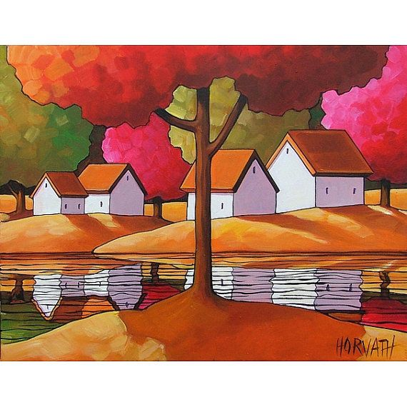 PAINTING ORIGINAL Folk Art Red Tree Fall Cottages Modern River Water ...