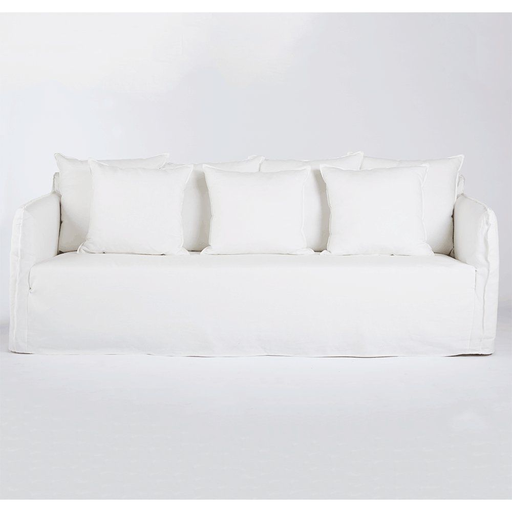 The Bronte White Linen Sofa With Arms Modern And Contemporary Lounge Urban Couture D Contemporary Living Room Furniture Linen Sofa Furniture Design Modern