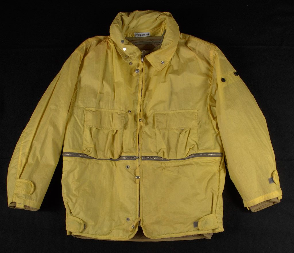 56b2adc97f25e9 As part of the Stone Island A/W 1988-89 Collection, this Ice Jacket and ski  trousers changes from yellow to green in extremely low temperatures.